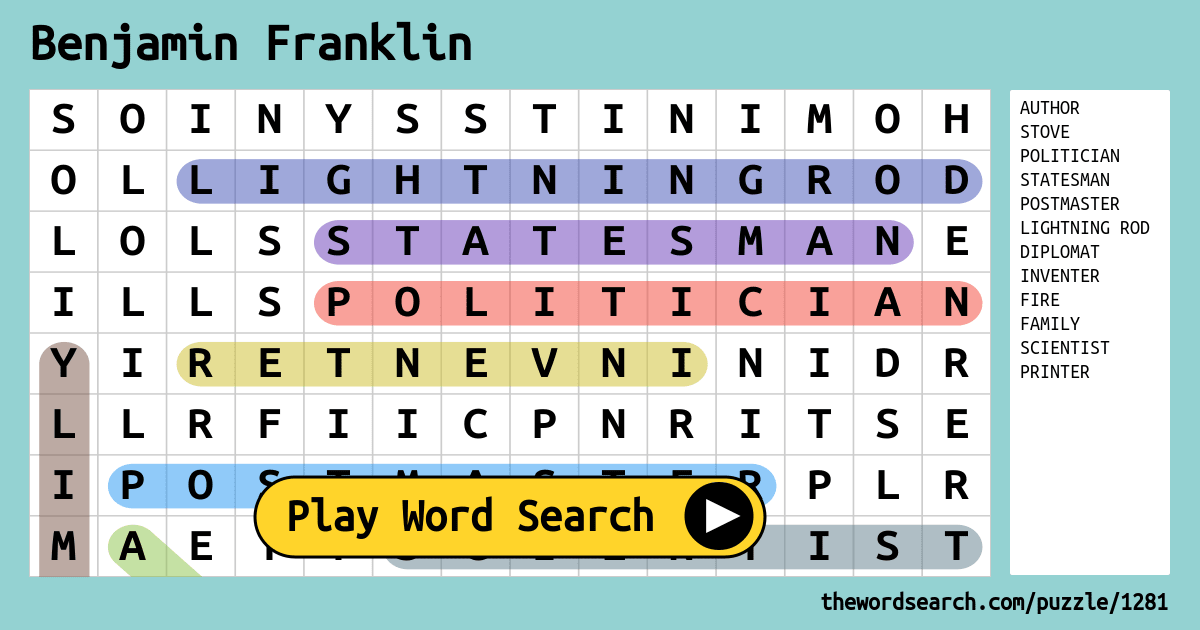 Download Word Search on Benjamin Franklin