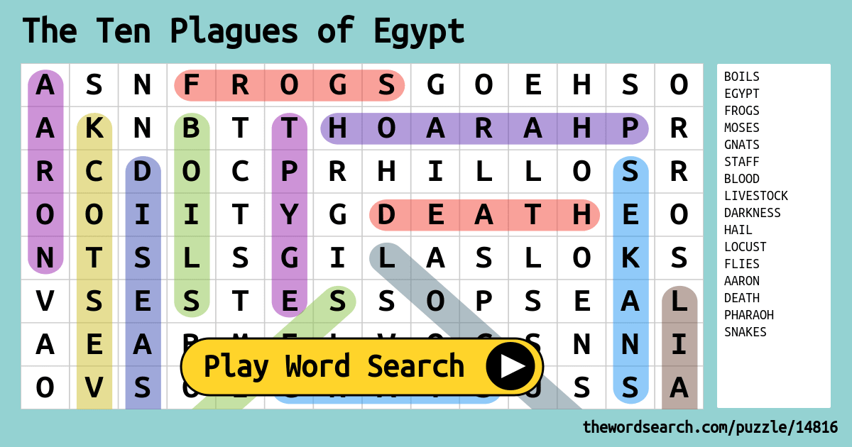 The Ten Plagues Of Egypt Word Search