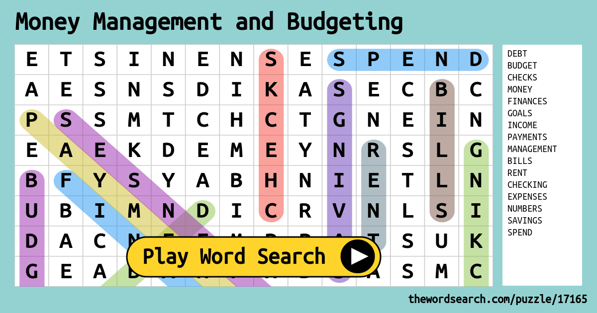 Money Management and Budgeting Word Search