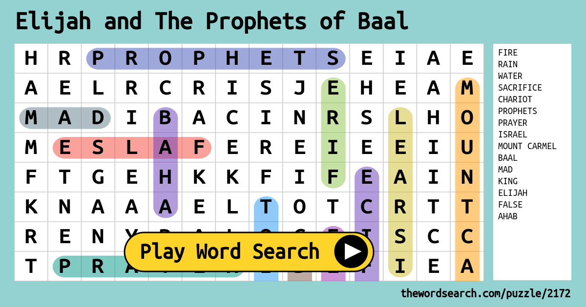 Download Word Search on Elijah and The Prophets of Baal