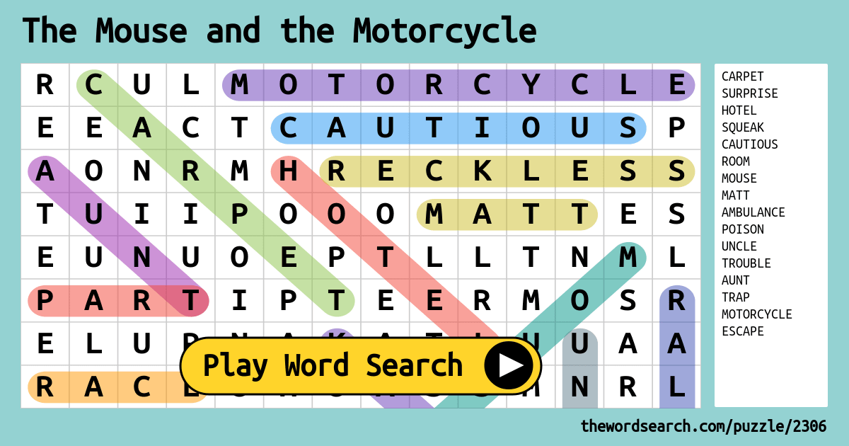 Printable Worksheets the mouse and the motorcycle worksheets : 2306.png