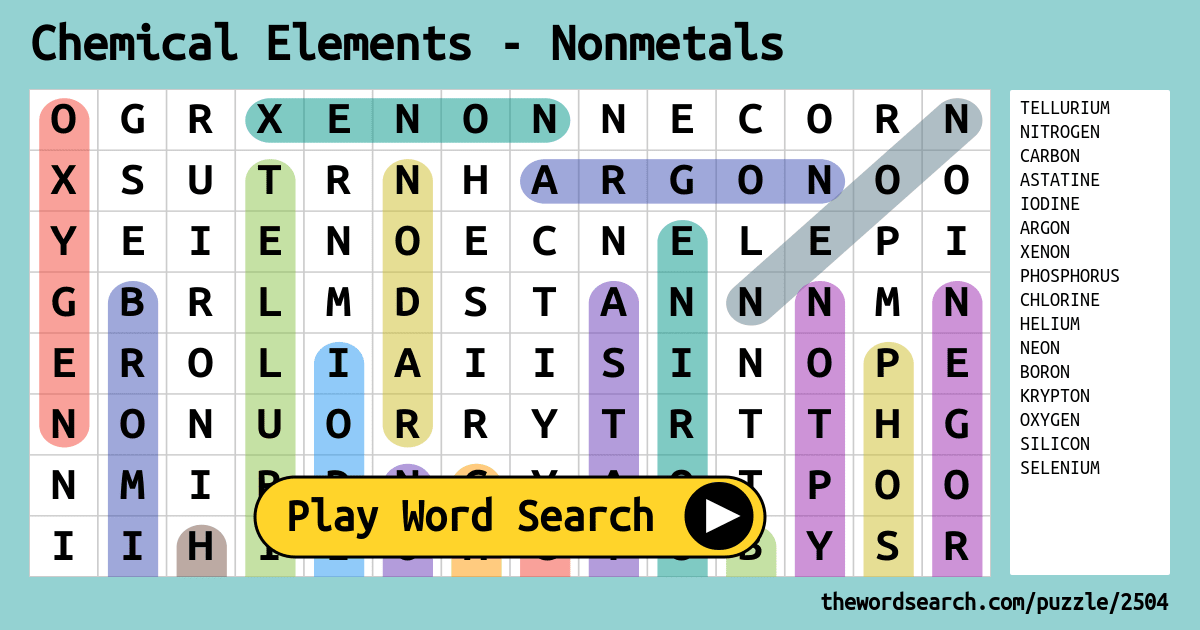 Element Word Search Answers | printable hijaiyah