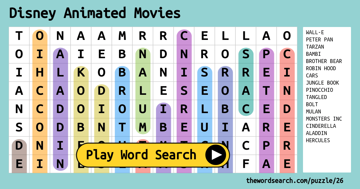 image about Disney Crossword Puzzles Printable identify Disney Animated Motion pictures Term Glance