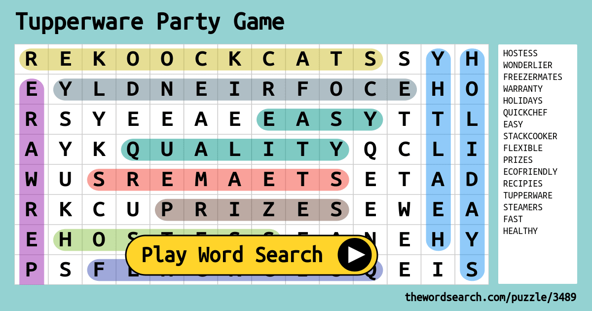 Tupperware Party Game Word Search