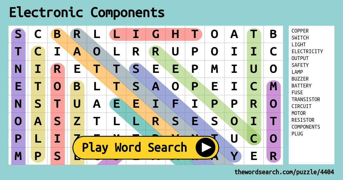 Electronic Components Word Search