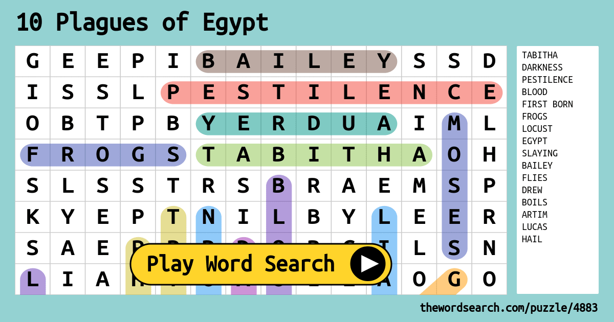 10 Plagues Of Egypt Word Search