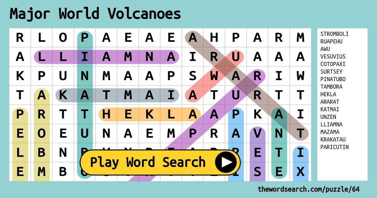 Major World Volcanoes Word Search