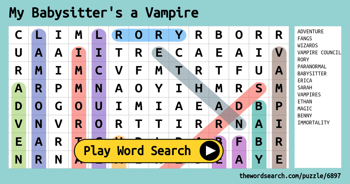 My Babysitter S A Vampire Word Search