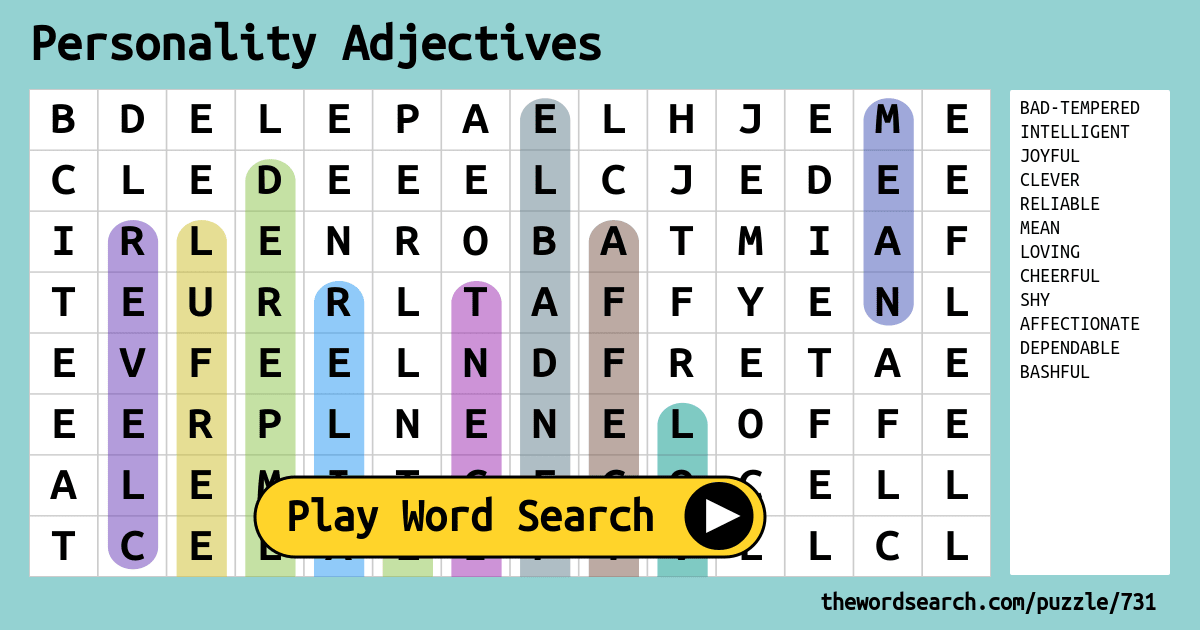Personality Adjectives Word Search