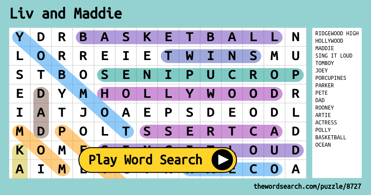 Liv And Maddie Word Search