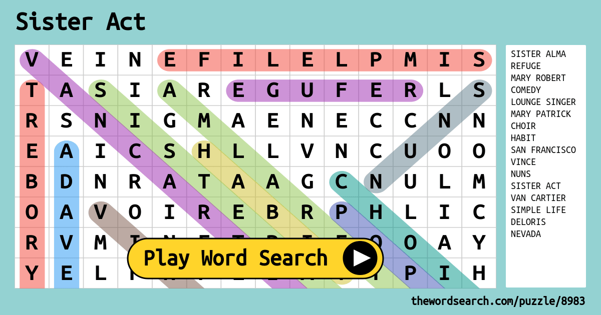 Sister Act Word Search