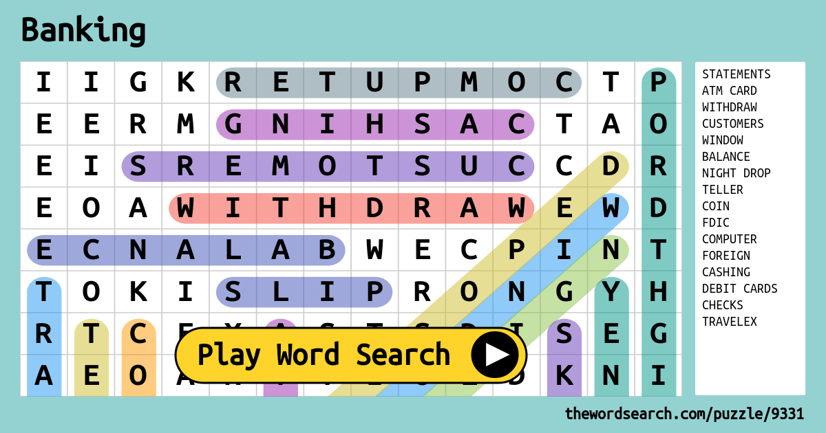 Banking Word Search