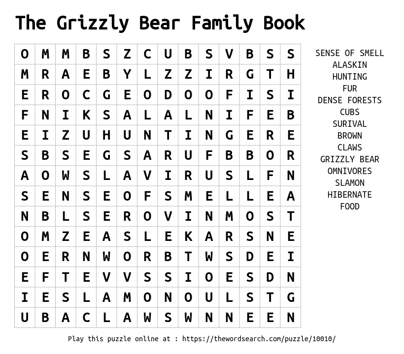 Word Search on The Grizzly Bear Family Book