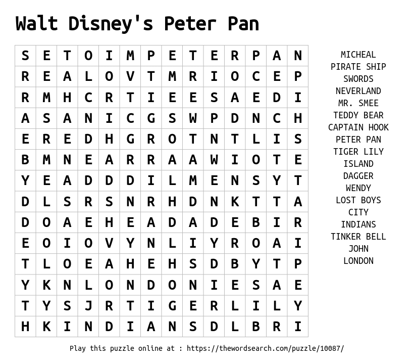 Download Word Search On Walt Disney S Peter Pan