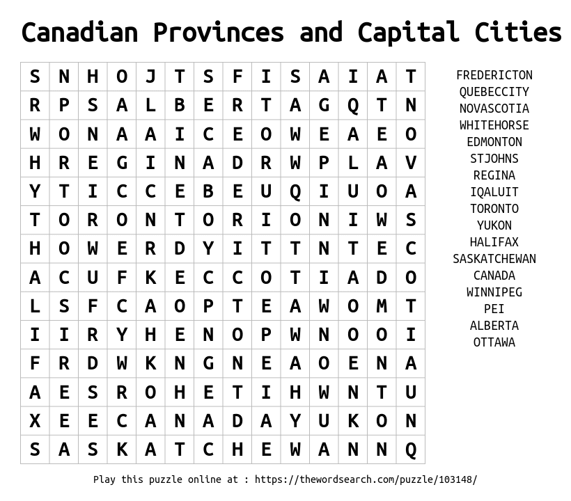 Canadian Provinces and Capital Cities Word Search