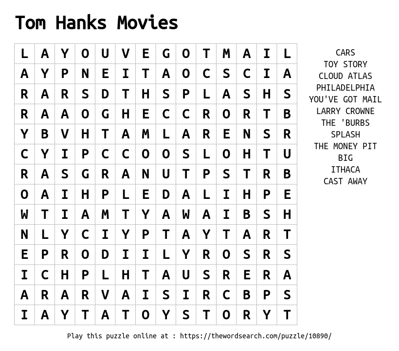 Word Search on Tom Hanks Movies