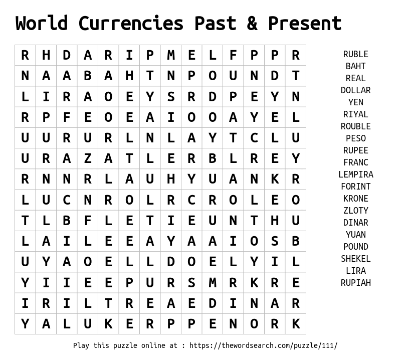 Word Search on World Currencies Past & Present