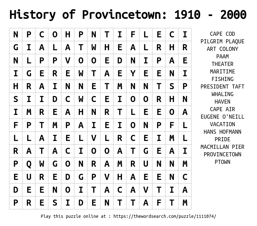 Word Search on History of Provincetown: 1910 - 2000
