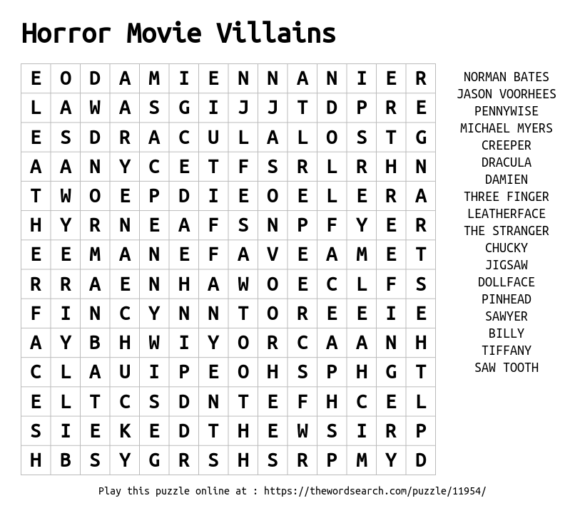 download word search on horror movie villains