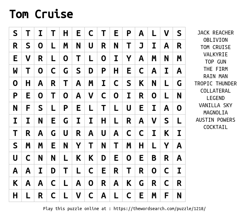 Word Search on Tom Cruise