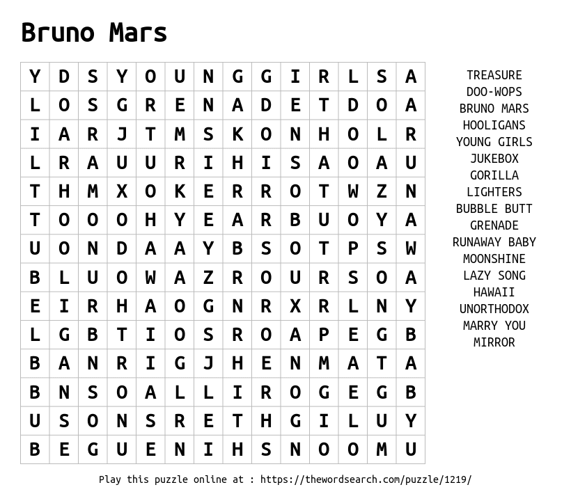 Word Search on Bruno Mars