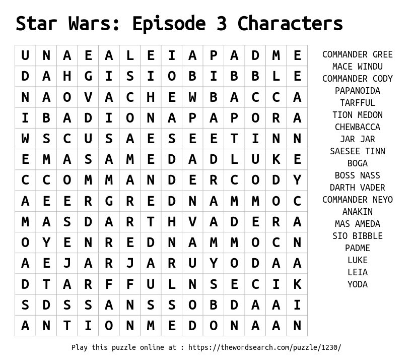 Word Search on Star Wars: Episode 3 Characters