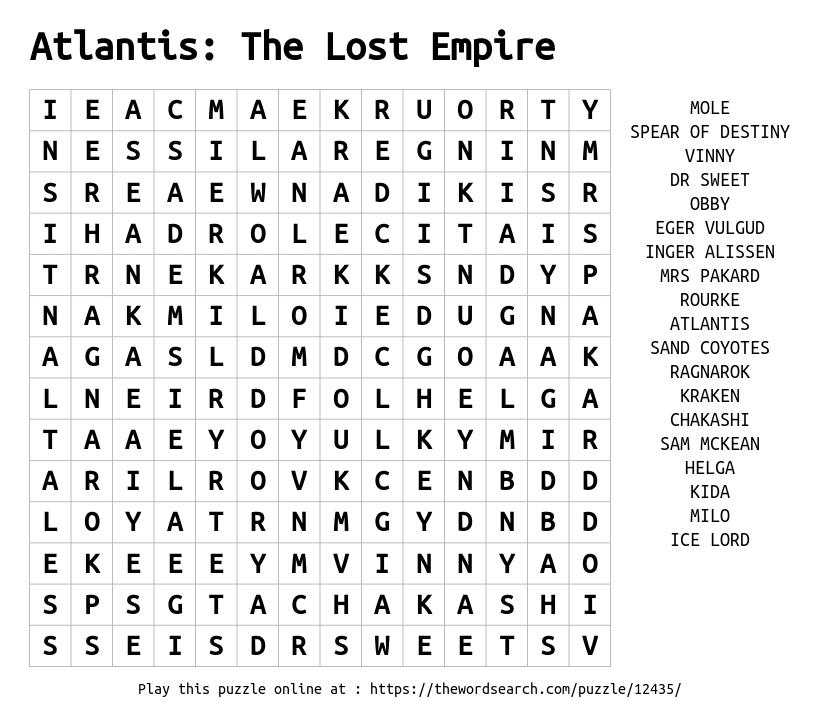 Download Word Search On Atlantis The Lost Empire