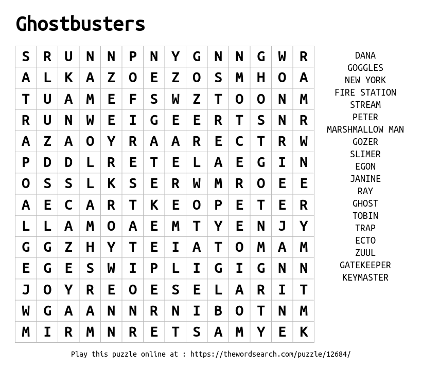 Word Search on Ghostbusters