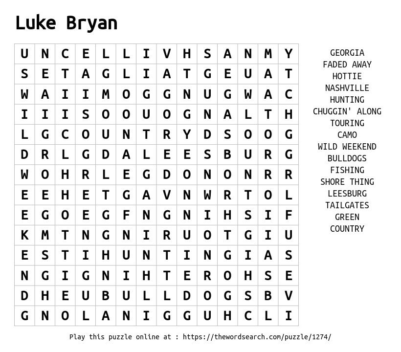 Word Search on Luke Bryan