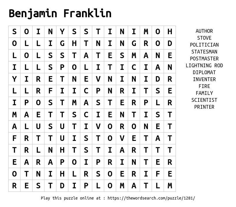 Word Search on Benjamin Franklin