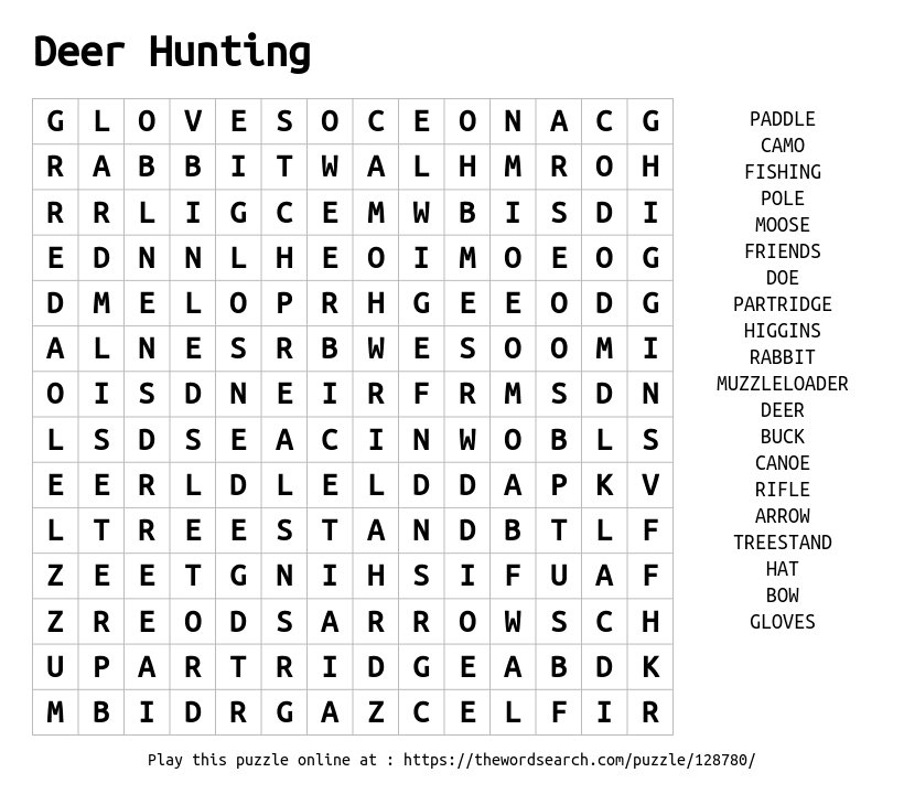 Word Search On Deer Hunting