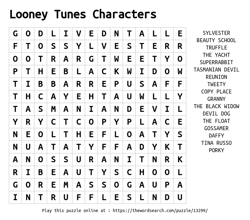 Word Search on Looney Tunes Characters