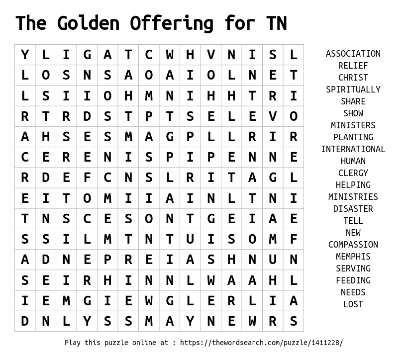 Word Search on The Golden Offering for TN