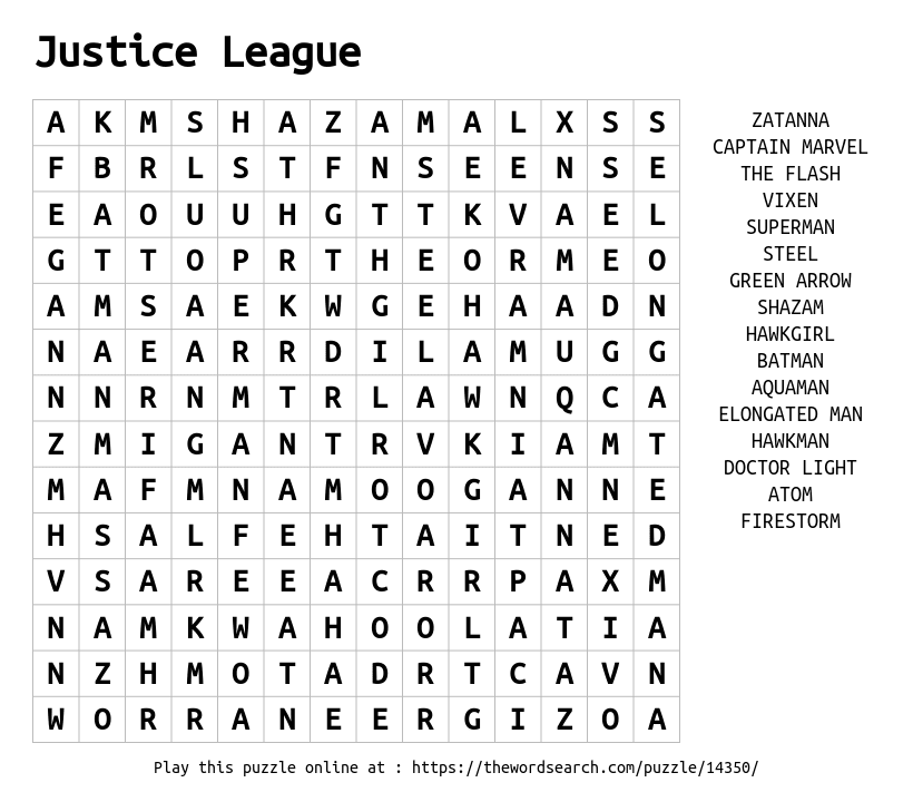 Word Search on Justice League