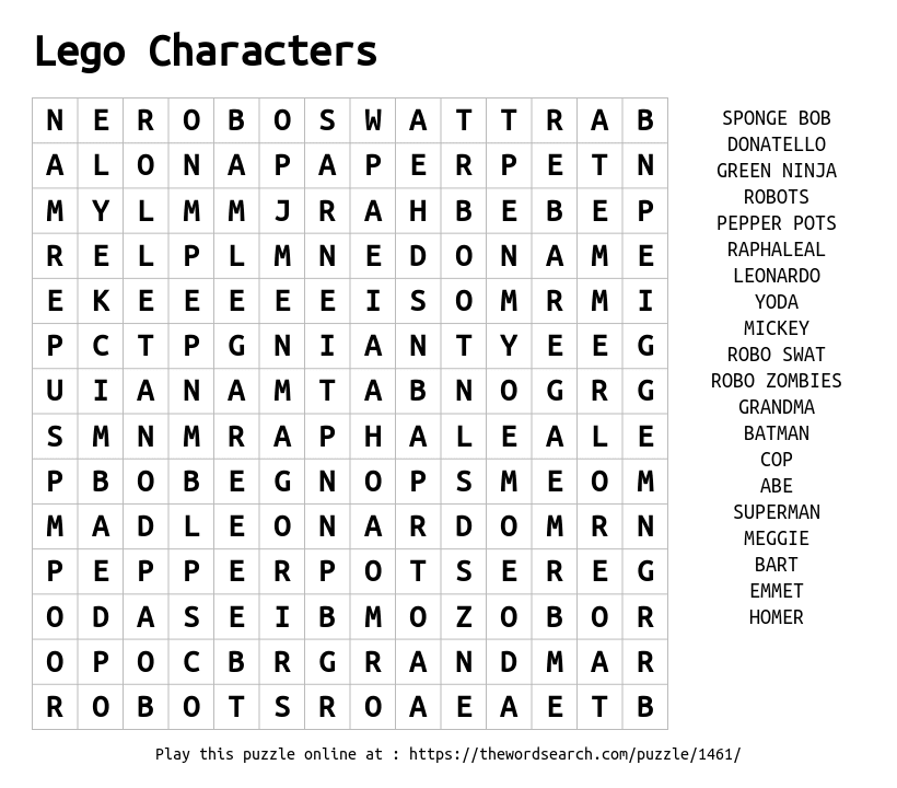 download word search on lego characters