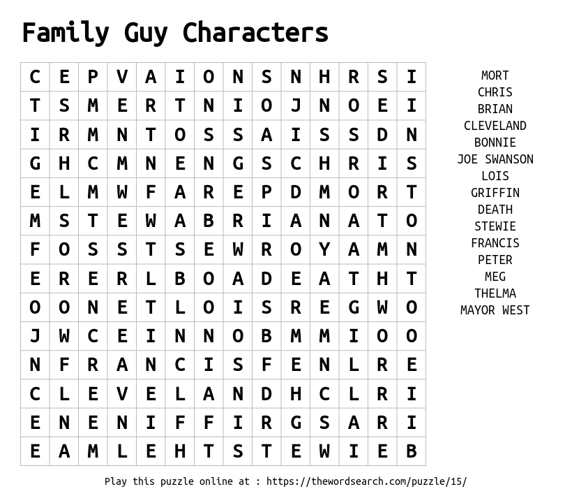 Word Search on Family Guy Characters