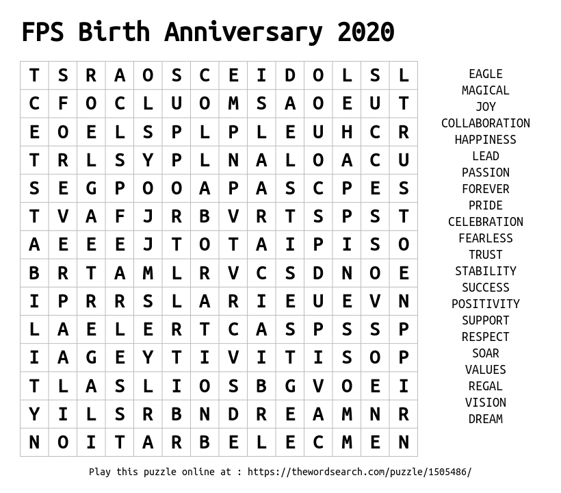 Word Search on FPS Birth Anniversary 2020