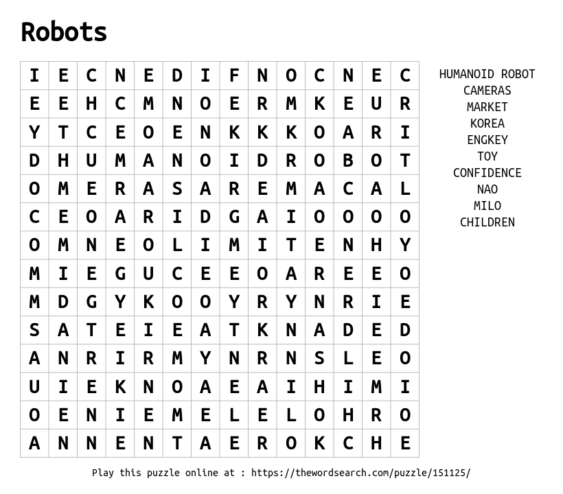 Robot Word Search Www Imagenesmy Com
