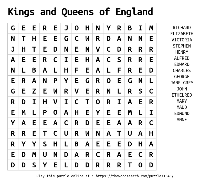 Word Search on Kings and Queens of England