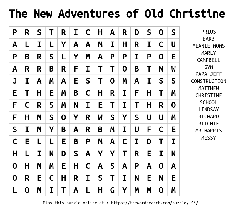 Word Search on The New Adventures of Old Christine