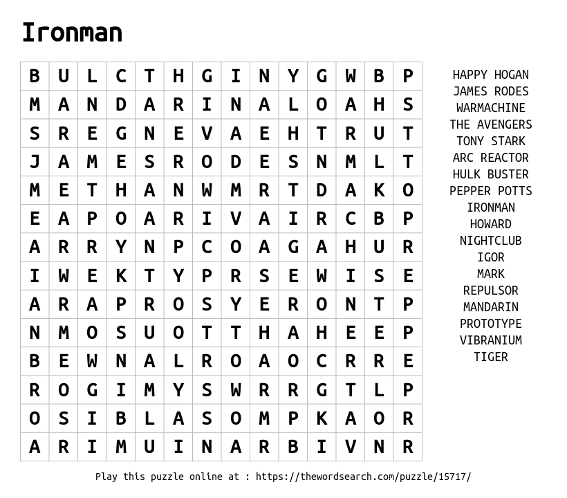 Word Search on Ironman
