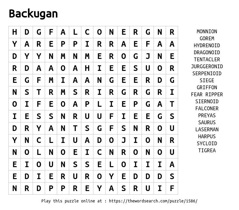 Word Search on Backugan