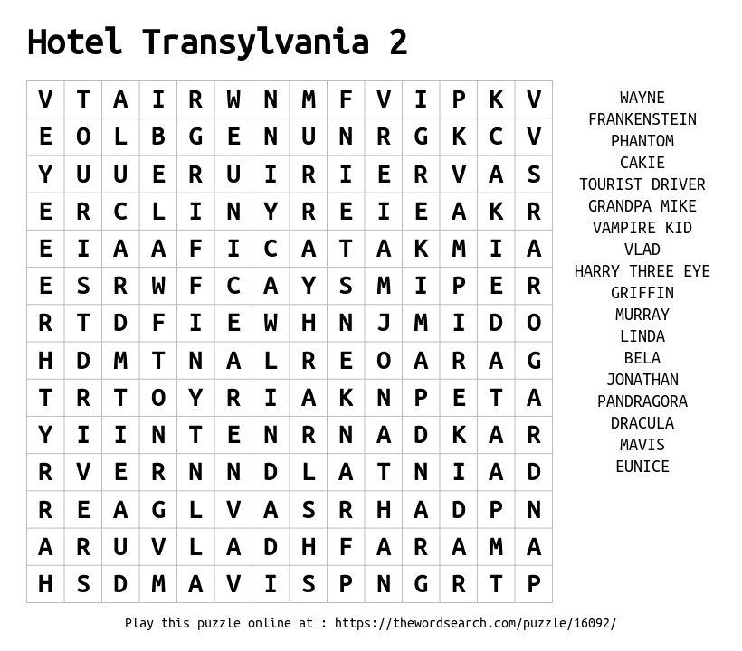 Word Search on Hotel Transylvania 2