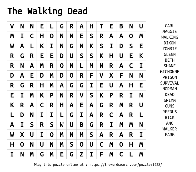 The Walking Dead Word Search