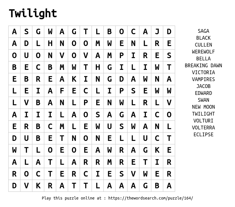 Word Search on Twilight