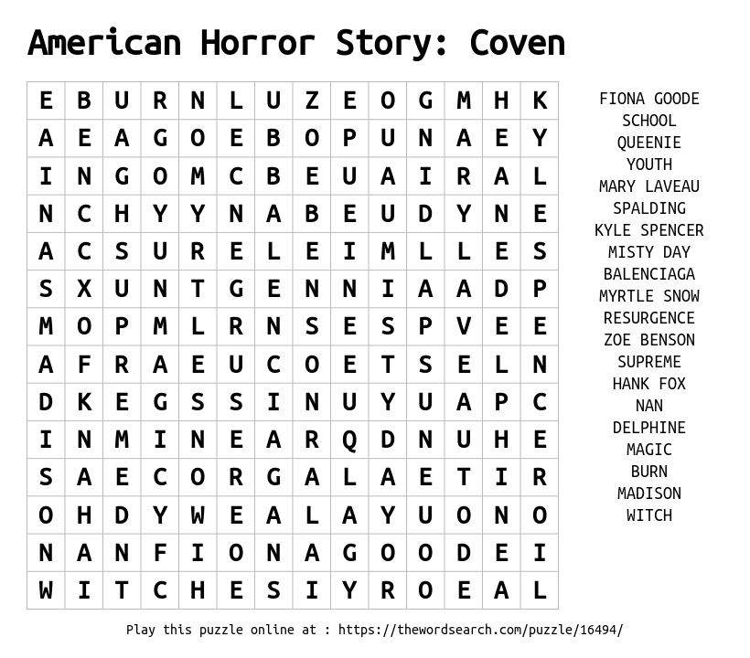 Word Search on American Horror Story: Coven