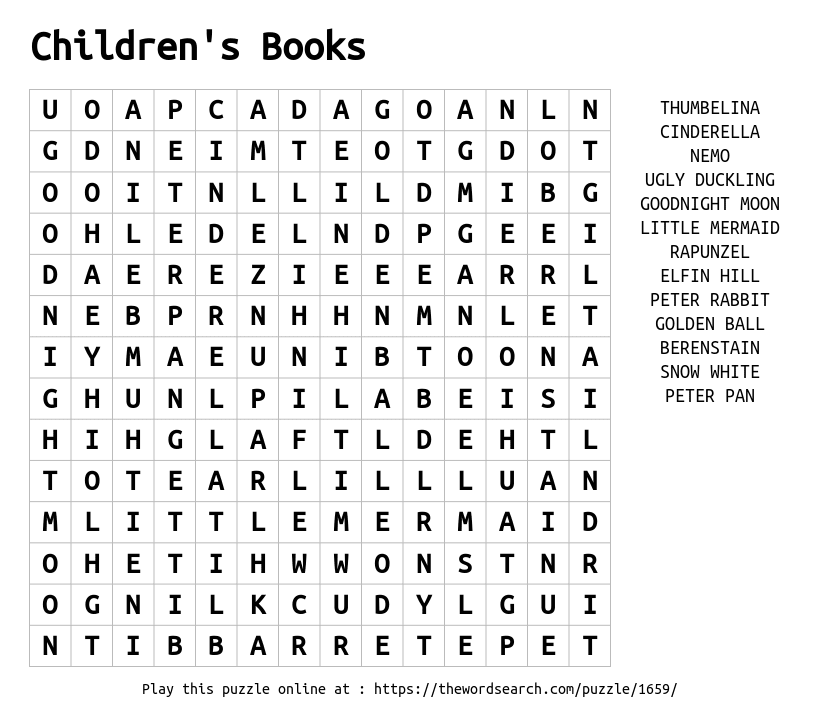 Children's Books Word Search