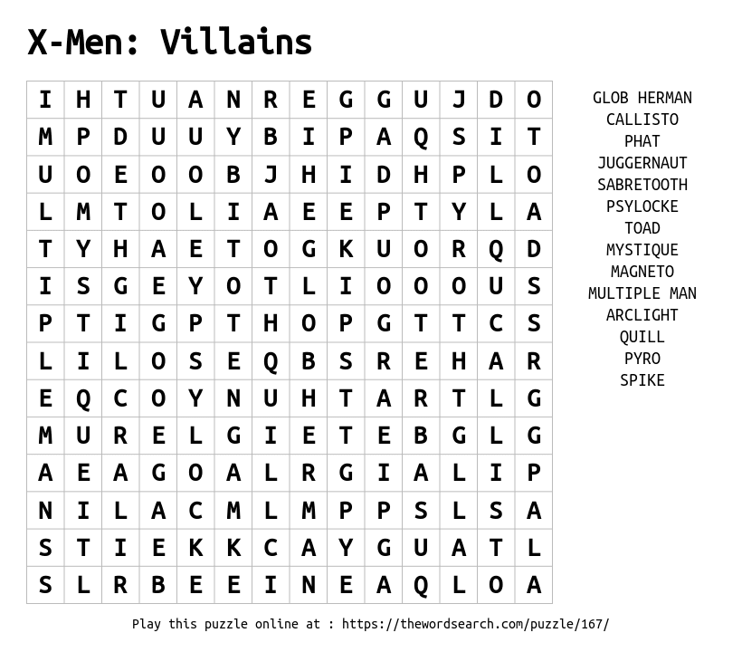 Word Search on X-Men: Villains