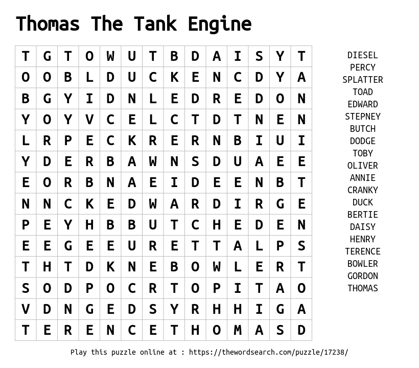 Word Search on Thomas The Tank Engine