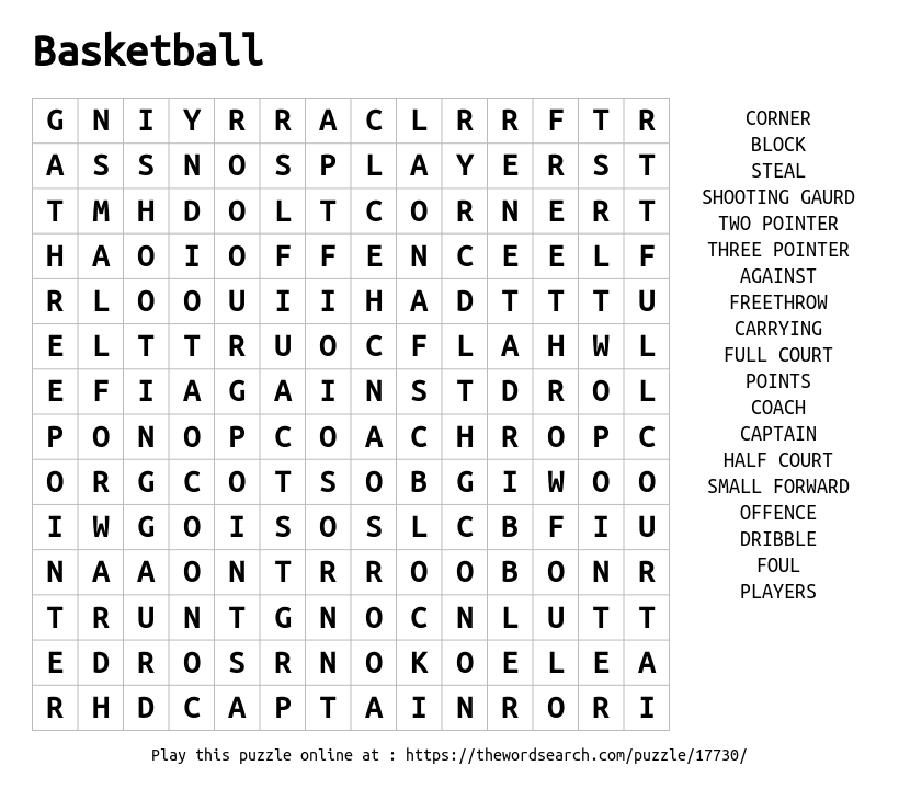 Download Word Search on Basketball